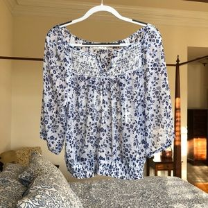 Floral blouse, white and blue, Abercrombie